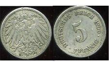 ALLEMAGNE 5 pfennig  1900 F