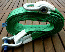 NEW 4x4 RECOVERY WINCH/TOW STRAP 4M TREE STROP 14 TON & 2x 3.25T TESTED SHACKLES