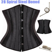 Black 28 steel bones boned Waist Training Underbust lace up corset Top Shaper US