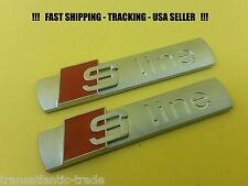 2x High Quality For Audi S line SLine Emblem Badge Silver Sticker A4 A5 A6 TT