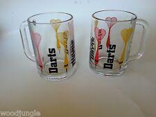 2 RETRO GLASS DARTS MUGS COFFEE BEER BAR PUB