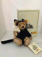 Steiff Bear In Halloween Costume Dressed As Cat With Mouse 9 Inches With Box