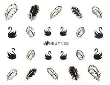 Black Swans Classic Feathers 3D Nail Art Sticker Decals UV Gel Manicure