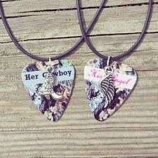Her Cowboy boot and His Angel Wing Charm Guitar Pick Necklace country camo girl