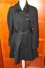 Trina Turk Black 100% Wool Lined Belted Trench Coat Jacket 12 Large