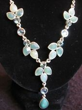 BEAUTIFUL TOURMALINE & GREEN AGATE PETAL DROP NECKLACE  in SILVER  BNWB