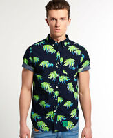 New Mens Superdry Southbank Surf Shirt Venice Palms Green