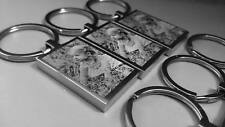 Photo  & Text Engraved Rectangle Steel Keyring - Gift / Fathers Day