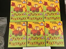 BIRTHDAY CARDS PACK OF 6 BOYS 'BUILDERS AT WORK' FREE P&P