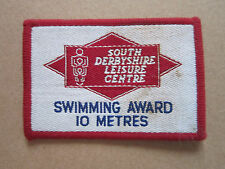 South Derbyshire Leisure Centre Swimming 10 Metres Woven Cloth Patch Badge