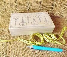 Petit shabby chic français vintage en bois bonheur sewing craft couture boîte de rangement
