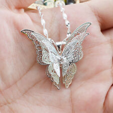 Women Lady 925 Silver Plated Butterfly Necklace Pendant Elegant