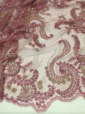 "ROSE GOLD EMBROIDERY SEQUINS HAND BEADED LACE FABRIC 52"" WIDE 1 YARD"