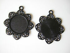 10pcs 25mm Round Black Blank Tray Flower Shaped Base Bezel Cameo Setting Pendant