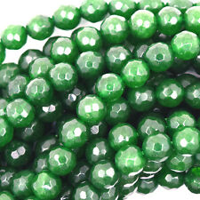 """6mm faceted jade round beads 15"""" strand emerald green"""