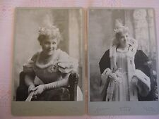 "Pair 1905 Carbonette photo Cabinet Card by Dana New York ""Aunt Elsie"" sexy!"