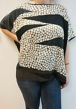 NEW DVF DIANE VON FURSTENBERG HANKY TOP CRACKLE BLOUSE STRETCH SILK SHIRT SIZE M