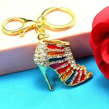 New Key chain Keyring bag chain Rhinestone High heels Pendant Keyfob Keychain