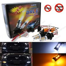 Plug&Play Switchback Front DRL Turn Signal LED Light + Resistor For Ford Mustang