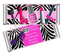 Spa / Fashionista Candy Bar Wrappers - Birthday Favors Set of 12