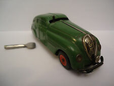 Antique SCHUCO German Green Wind Up Tin Toy Car 1930s + Key