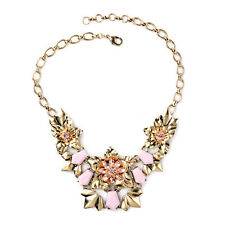 Collier Doré Art Deco Fleur Rose Metal  Original AZ 2