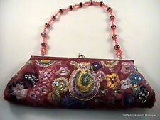 Vtg La Regale Beaded Sequined Embroidered Burgundy Floral Evening Clutch Purse