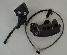 Buell 8 Piston Front Black Brake Caliper, Master Cylinder & Brake Line Kit (K)