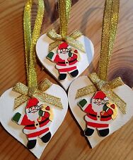 3 X Handmade Christmas Decorations Shabby Chic Wood Heart Santa Gold Ribbons