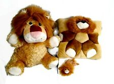LION Lot of 3 Stuffed Animals Plush Jelly Beans Throw Pillow Fine Toy Brown Tan