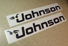 """Johnson Vintage Outboard Motor Decals 18"""" Black FREE SHIP + FREE Fish Decal!"""