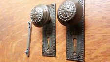 "Antique Fancy Victorian Doorknobs Door Knobs & Plates c1900 ""Century"" R & E"