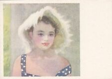 VERY RARE Beautiful girl in hat Marina old Russian Soviet postcard by Zhukov