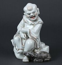 Antique Chinese porcelain statue Laohan(luohan) with oz (cow) marked