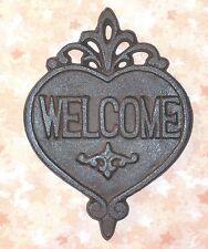 NEW~Cast Iron WELCOME Sign Plaque Heart Shape Door Garden Porch