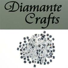 200 x 4mm Clear Diamante Loose Square Flat Back Rhinestone Craft Embellishments