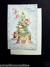Unused Xmas Greeting Card Angels with Candles Surrounding Baby Jesus by the Tree