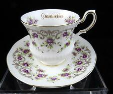 "VINTAGE QUEENS ROSINA ENGLAND GRANDMOTHER PURPLE FLORAL 2 7/8"" CUP AND SAUCER"