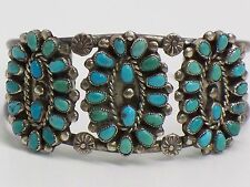 Vintage Native American Old Pawn Silver And Turquoise Petit Point Cuff Bracelet