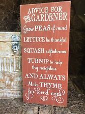 "Large Rustic Wood Sign - ""Advice For The Gardener...."" Garden, Patio, Outdoor"