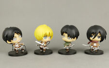 Attack on Titan Chibi Figure 4pc Shingeki no Kyojin Anime Figurine Eren Jaeger