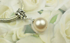 Creamrose Crystal Pearl Dangle Charm Bead European Style w Swarovski Elements