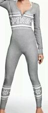 NEW Victorias Secret Pink Thermal Long Jane Onesie Pajama Gray-L