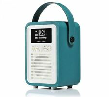 VQ Retro Mini DAB+ Radio & Bluetooth Speaker With Dual Alarm In Teal Brand NEW