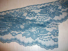 "LACE CLOSEOUT ROLL BOLT LACE WEDGWOOD BLUE 100 yd 3"" FLAT FLORAL TRIM DOLL CRAFT"