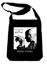 Aleister Crowley on Black Crossbody Sling Bag Occult Witchcraft Book Bag Gothic