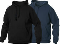 Men's and Women's Hooded Sweatshirt - Plain Black Hoodie Blank Pullover Hoody