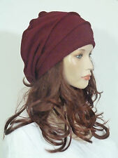 Funky lagenlook style effortlessly chic bordeaux boiled wool slouchy beanie hat