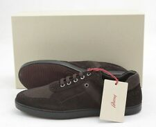 Mens BRIONI Brown Suede Leather Lizard Skin Sneakers Shoes 7 1/2 D 40.5 NIB
