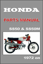 HONDA Parts Manual SS50 & SS50M 1972 1873 1974 Replacement Spares Catalog List